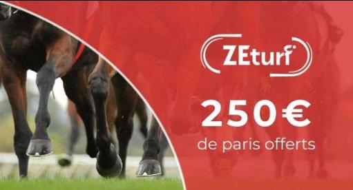 L'offre Bonus ZETURF de 250 € associé à l'offre TURF FR